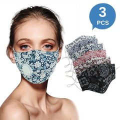 Cotton Protective Masks with Breathing Valve and Filter Pocket (3 PCS)