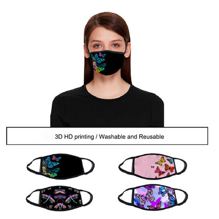 Unisex Cloth Mask Fashion 3D Digital Printed Dustproof Washable