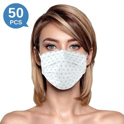 Multicolor Polka Dot Print Disposable Face Mask Adult 3-ply(50 PCS - Any 4 colors)