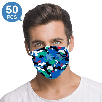 Multicolor Camouflage Printed Disposable Face Mask Adult 3-ply(50 PCS - Any 3 colors)